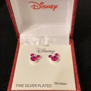 Mickey Mouse Oct Pierced Earrings (Silver Plated)